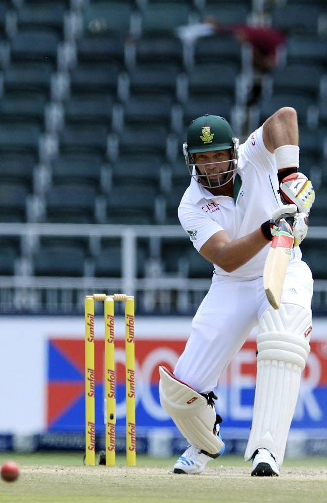 South Africa's batsman Jacques Kallis plays a shot against India during the fourth and final day of their cricket test match at Wanderers stadium in Johannesburg, South Africa, Sunday, Dec. 22, 2013