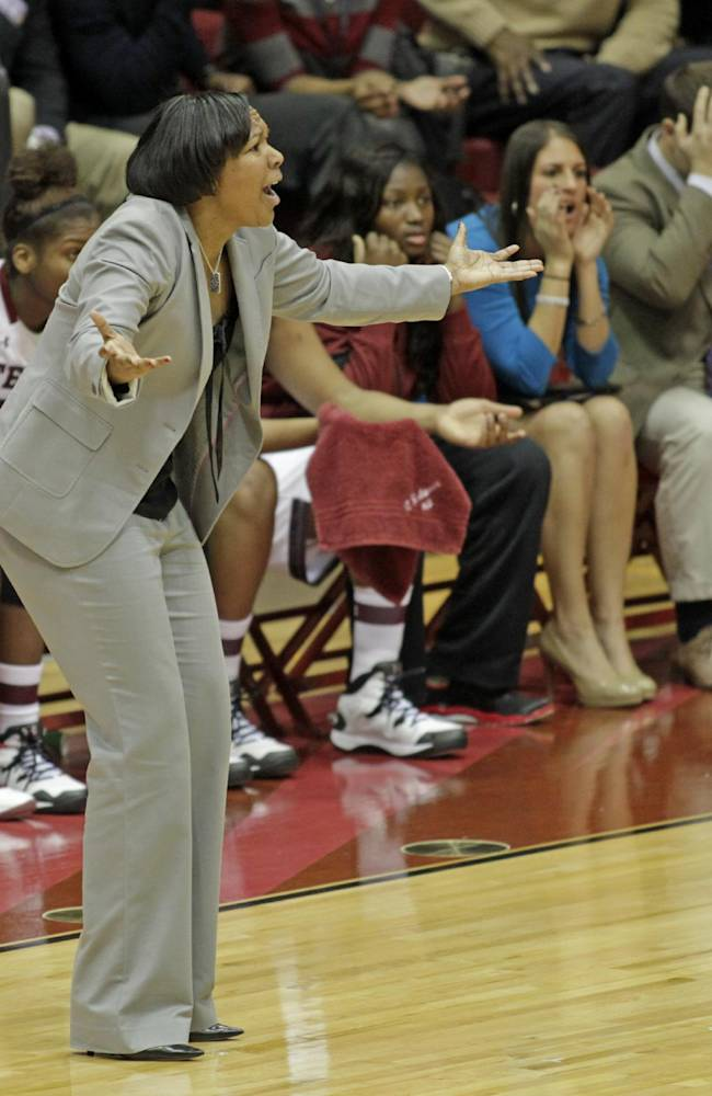 Temple coach Tonya Cardoza reacts to a call as her team plays against Louisville in the first half of an NCAA women's basketball game, Wednesday, Jan. 1, 2014, in Philadelphia. Louisville won 77-68