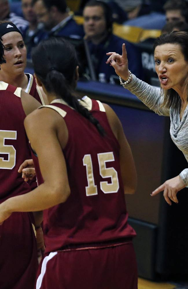 Denver head coach Kerry Cremeans, right, urges on her team during an NCAA college basketball game against Colorado in Boulder, Colo., Thursday, Dec. 12, 2013. Colorado won 83-61