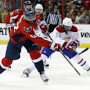 Washington Capitals right wing Joel Ward, left, shoots the puck as he is defended by Montreal Canadiens defenseman P.K. Subban (76) in the third period of an NHL hockey game Friday, Nov. 22, 2013, in Washington. The Canadiens won 3-2 The Associated Press