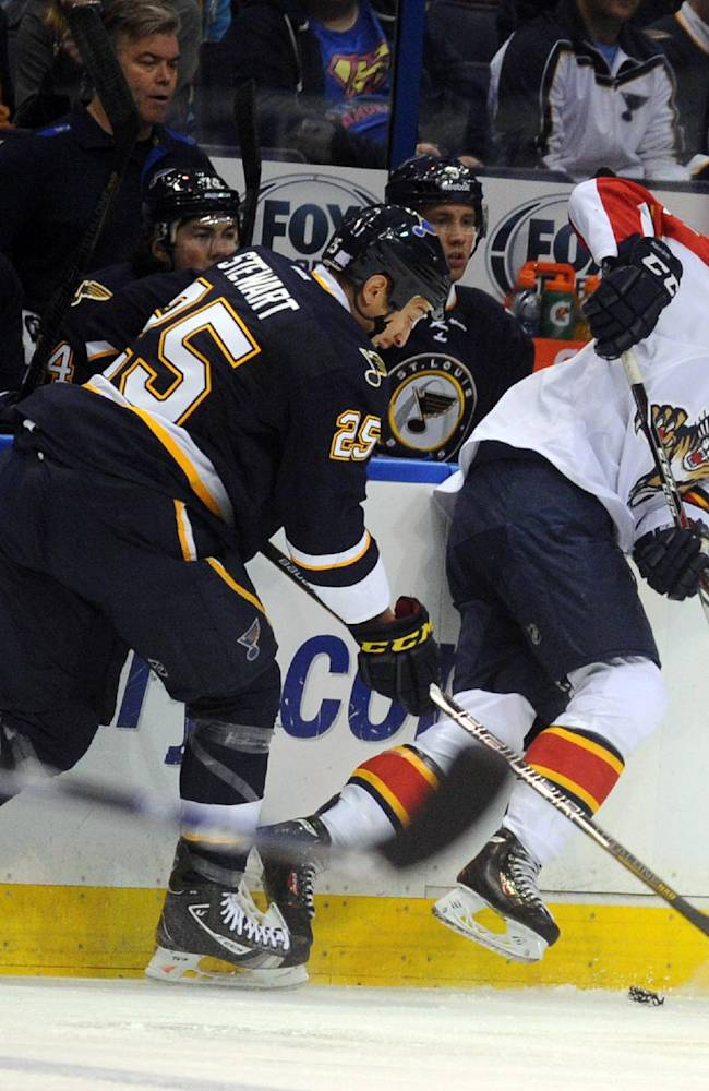 St. Louis Blues' Chris Stewart, left, and Florida Panthers' Jonathan Huberdeau battle for the puck during the first period of an NHL hockey game Saturday, Oct. 5, 2013, in St. Louis