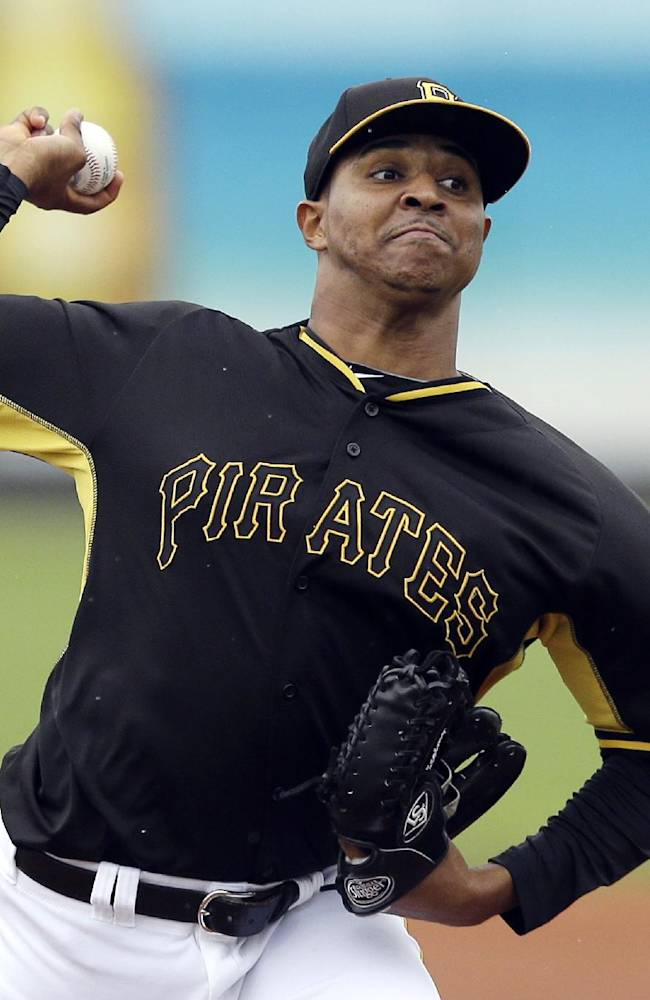 Pittsburgh Pirates pitcher Stolmy Pimentel throws during the first inning of a spring exhibition baseball game against the New York Yankees in Bradenton, Fla., Thursday, March 27, 2014