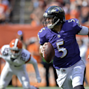 Baltimore Ravens quarterback Joe Flacco (5) runs against the Cleveland Browns in the fourth quarter of an NFL football game Sunday, Sept. 21, 2014, in Cleveland The Associated Press