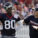 In this July 27, 2014, file photo, Houston Texans coach Bill O'Brien, right, talks to wide receiver Andre Johnson (80) during an NFL football training camp practice in Houston. Six NFL teams have made significant alterations in their passing games. Andre