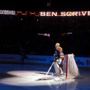 Edmonton Oilers goalie Ben Scrivens is hit with the spot light during introductions before the Oilers' NHL hockey game against the Chicago Blackhawks on Friday, Jan. 9, 2015, in Edmonton, Alberta The Associated Press