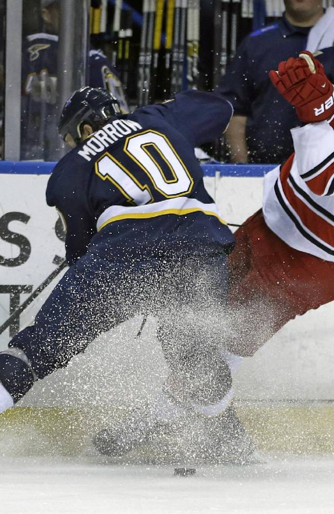 Carolina Hurricanes' Alexander Semin, of Russia, slips as he chases after a loose puck along side St. Louis Blues' Brenden Morrow, left, during the first period of an NHL hockey game Saturday, Nov. 16, 2013, in St. Louis