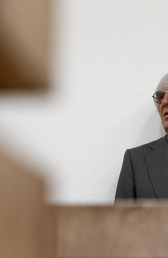 Formula One boss  Bernie Ecclestone waits  in  the regional court in Munich , Germany on  Tuesday June 24, 2014. Ecclestone is charged with bribery and incitement to breach of trust
