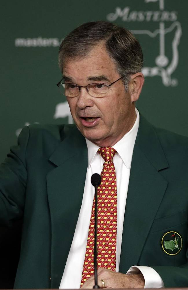 Billy Payne, chairman of Augusta National Golf Club, speaks during a media conference before the Masters golf tournament Wednesday, April 10, 2013, in Augusta, Ga
