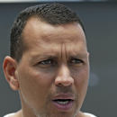 New York Yankees third baseman Alex Rodriguez speaks to the media after reporting to the Yankees' Minor League complex for rehabilitation Monday, May 6, 2013, in Tampa, Fla. (AP Photo/Chris O'Meara)