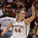 Stanford's Joslyn Tinkle celebrates a score against Michigan during the first half of a second-round game in the women's NCAA college basketball tournament on Tuesday, March 26, 2013, in Stanford, Calif. (AP Photo/Ben Margot)