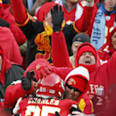 Kansas City Chiefs running back Jamaal Charles (25) celebrates a touchdown with fans during the first half of an NFL football game against the San Diego Chargers in Kansas City, Mo., Sunday, Nov. 24, 2013 The Associated Press