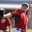 Washington Nationals starting pitcher Ross Detwiler throws during a spring training baseball workout, Monday, Feb. 17, 2014, in Viera, Fla The Associated Press