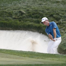 Jul 28, 2016; Springfield, NJ, USA; PGA golfer Kevin Streelman hits out of a sand trap on the 4th hole during the first round of the 2016 PGA Championship golf tournament at Baltusrol GC - Lower Course. Mandatory Credit: Brian Spurlock-USA TODAY Sports