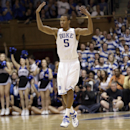 Duke's Rodney Hood reacts following a basket against North Carolina during the second half of an NCAA college basketball game in Durham, N.C., Saturday, March 8, 2014. Duke won 93-81. (AP Photo/Gerry Broome)