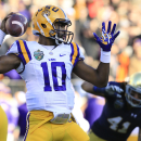 LSU quarterback Anthony Jennings (10) passes against Notre Dame in the first half of the Music City Bowl NCAA college football game Tuesday, Dec. 30, 2014, in Nashville, Tenn. (AP Photo/Mark Humphrey)