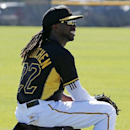 Pittsburgh Pirates' Andrew McCutchen sits on a ball bag during a break in the action at the team's baseball spring training workout in Bradenton, Fla., Thursday, Feb. 20, 2014 The Associated Press