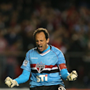 In this April 17, 2013 file photo, Sao Paulo FC goalkeeper Rogerio Ceni celebrates after scoring a penalty kick against Brazil's Atletico Mineiro at a Copa Libertadores soccer match in Sao Paulo, Brazil. Ceni reached yet another milestone in his prolific