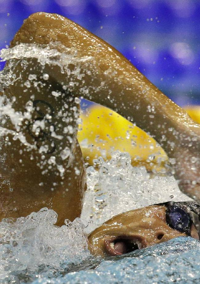 Italy's Gabriele Detti competes in a men's 800m freestyle first round heat at the LEN Swimming European Championships in Berlin, Germany, Thursday, Aug. 21, 2014