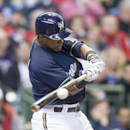 Milwaukee Brewers' Jean Segura breaks his bat on a ground out to first against the St. Louis Cardinals during the third inning of a baseball game Wednesday, April 16, 2014, in Milwaukee The Associated Press