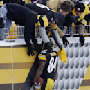 Pittsburgh Steelers wide receiver Antonio Brown (84) celebrates with fans after taking a pass from Pittsburgh Steelers quarterback Ben Roethlisberger (7) for a second half touchdown during of an NFL football game in Pittsburgh, Sunday, Dec. 8, 2013 The As