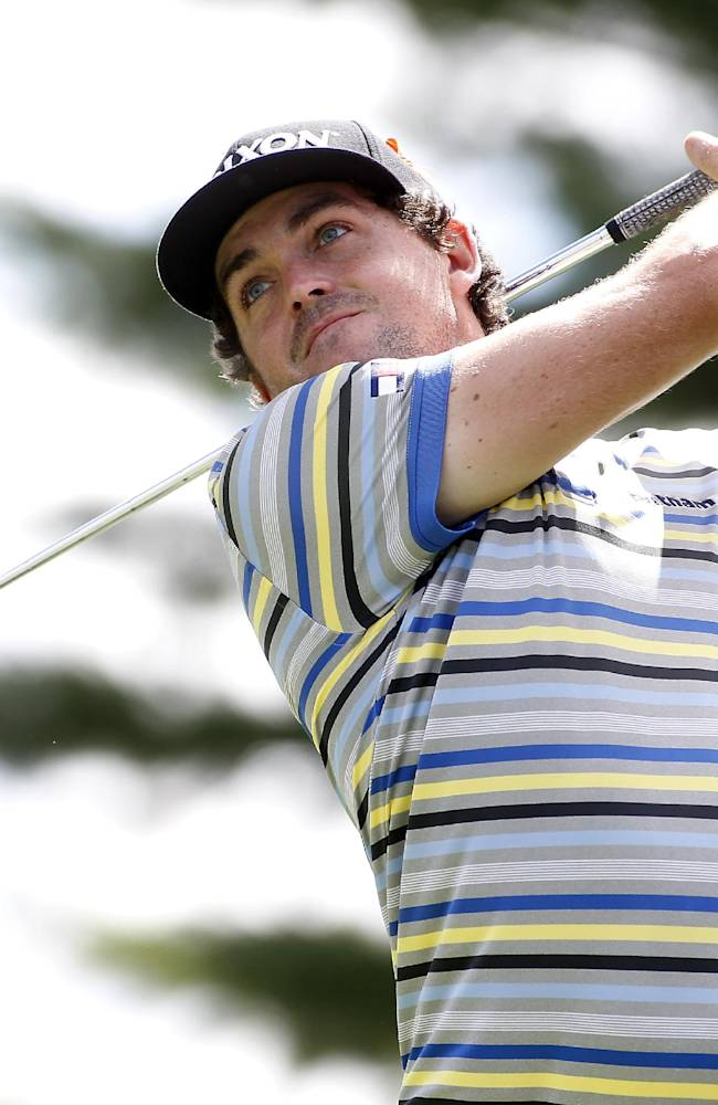 In this Aug. 29, 2014, file photo, Keegan Bradley hits off the 10th tee during the first round of the Deutsche Bank Championship golf tournament in Norton, Mass. Ryder Cup captain Tom Watson announces his wild-card selections for the American team, Tuesday, Sept. 2, 2014, with Keegan Bradley, Hunter Mahan, Webb Simpson and Chris Kirk among the favorites