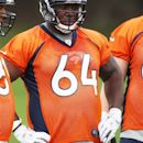 Denver Broncos rookie offensive lineman Philip Blake looks on during drills at the Broncos' NFL football rookie minicamp at the team's training headquarters in Englewood, Colo., on Saturday, May 12, 2012. (AP Photo/David Zalubowski)