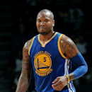 ONTARIO, CA - OCTOBER 12: Marreese Speights #5 of the Golden State Warriors looks on during the game against the against the Los Angeles Lakers on October 12, 2014 at Citizens Business Bank Arena in Ontario, California. (Photo by Noah Graham/NBAE via Getty Images)