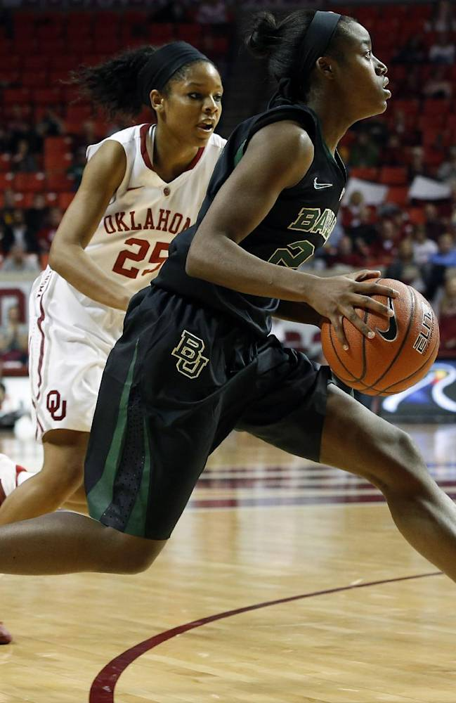 Baylor's Imani Wright (20) drives a ball past Oklahoma's Gioya Carter (25) during the first half of an NCAA college basketball game in Norman, Okla., Feb. 3, 2014