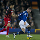 Queens Park Rangers' Yoon Suk-Young, left, keeps hold of Everton's Ross Barkley during the English Premier League soccer match between Everton and Queens Park Rangers at Goodison Park Stadium, Liverpool, England, Monday Dec. 15, 2014