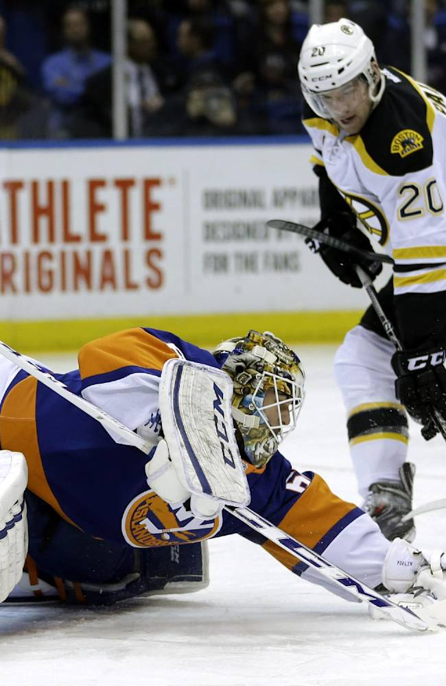 Boston Bruins' Daniel Paille, right, tries to score past New York Islanders goalie Kevin Poulin during the first period of the NHL hockey game, Monday, Jan. 27, 2014, in Uniondale, New York