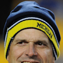 FILE- In this file photo from Jan. 3, 2015, The new Michigan football coach, Jim Harbaugh, is on the sideline before an NFL wildcard playoff football game in Pittsburgh. The pundits are talking up the Big Ten league this spring, largely because of the achievements and trend lines in the East Division. There was Ohio State's national championship under Urban Meyer, Michigan State's bowl win over a Baylor team that narrowly missed the College Football Playoff, Jim Harbaugh's hiring at Michigan and Penn State's rebuilding job under James Franklin. (AP Photo/Don Wright, file)