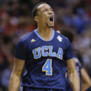 UCLA's Norman Powell reacts after scoring against Arizona in the first half during the championship game of the NCAA Pac-12 conference college basketball tournament, Saturday, March 15, 2014, in Las Vegas. (AP Photo/Julie Jacobson)