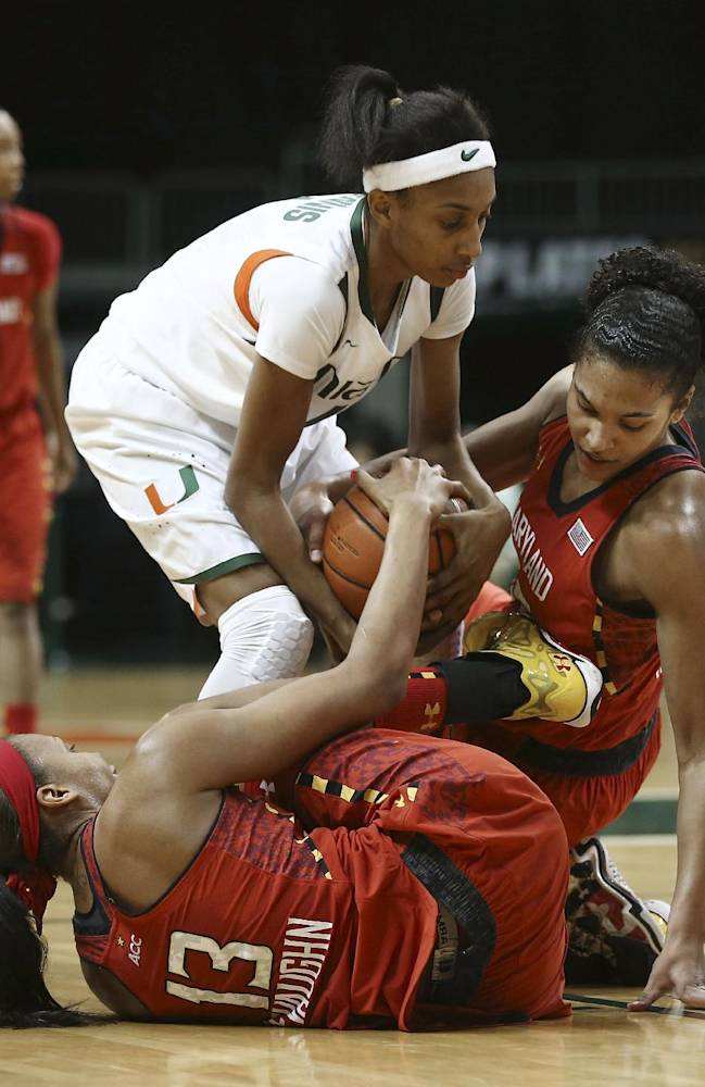 Maryland's Alicia DeVaughn (13) and Alyssa Thomas scramble with Miami's Caprice Dennis for the ball during the second half of an NCAA college basketball game in Coral Gables, Fla., Thursday, Feb. 13, 2014. Maryland won 67-52