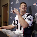 New England Patriots tight end Rob Gronkowski yells to a teammate during a news conference Thursday, Jan. 29, 2015, in Chandler, Ariz. The Patriots play the Seattle Seahawks in NFL football Super Bowl XLIX Sunday, Feb. 1 The Associated Press