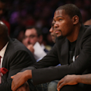 LOS ANGELES, CA - MARCH 01: Injured player Kevin Durant of the Oklahoma City Thunder looks on from the bench during the game against the Los Angeles Lakers at Staples Center on March 1, 2015 in Los Angeles, California. The Thunder won 108-101. (Photo by Stephen Dunn/Getty Images)
