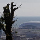 The Bolshoy Ice Dome is seen in the background in Sochi, the host city for the Sochi 2014 Winter Olympics, April 23, 2013. REUTERS/Alexander Demianchuk