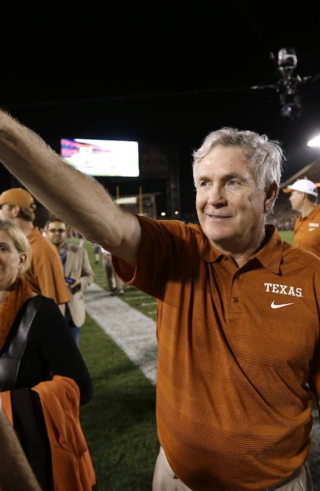 Texas coach Mack Brown gives the