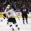 Boston Bruins left wing Brad Marchand, front, celebrates after scoring a goal against the Colorado Avalanche during the third period of an NHL hockey game Wednesday, Jan. 21, 2015, in Denver. Colorado won 3-2 in a shootout The Associated Press