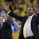 Golden State Warriors head coach Mark Jackson, right, reacts after a referee's call during the second half of Game 6 of a Western Conference semifinal NBA basketball playoff series against the Golden State Warriors in Oakland, Calif., Thursday, May 16, 2013. The Spurs won 94-82. (AP Photo/Marcio Jose Sanchez)