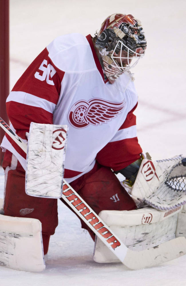 Detroit Red Wings goalie Jonas Gustavsson makes a save during first period NHL action Sunday, Dec. 1, 2013, in Ottawa. Gustavsson made 30 saves as the Red Wings defeated the Senators 4-2