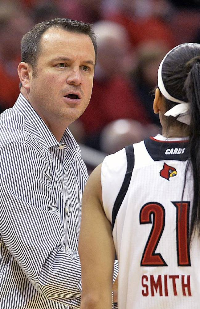 Louisville head coach Jeff Walz, left, talks with Bria Smith during the first half of an NCAA basketball game against Memphis Sunday, Jan. 26, 2014 in Louisville, Ky