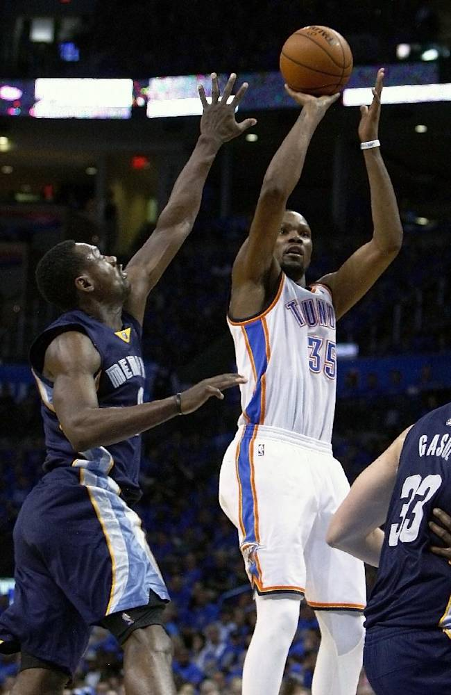 Oklahoma City Thunder forward Kevin Durant (35) shoots as Memphis Grizzlies guard Tony Allen (9) defends during the fourth quarter of Game 1 of the opening-round NBA basketball playoff series in Oklahoma City on Saturday, April 19, 2014. Oklahoma City won 100-86