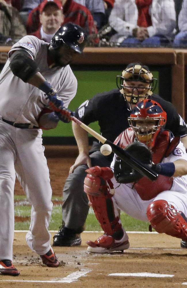 Boston Red Sox's David Ortiz hits an RBI double during the first inning of Game 5 of baseball's World Series against the St. Louis Cardinals Monday, Oct. 28, 2013, in St. Louis