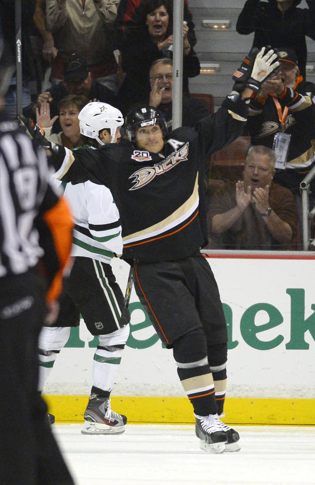 Anaheim Ducks right wing Teemu Selanne celebrates his goal during the first period of their NHL hockey game against the Dallas Stars, Sunday, Oct. 20, 2013, in Anaheim, Calif