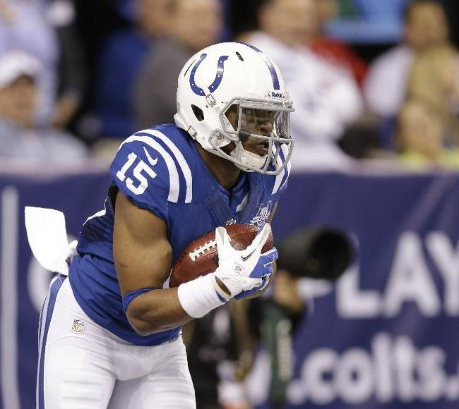 Indianapolis Colts' LaVon Brazill (15) runs during the first half of an NFL football game against the Jacksonville Jaguars Sunday, Dec. 29, 2013, in Indianapolis
