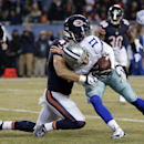 Dallas Cowboys wide receiver Cole Beasley (11) dives against Chicago Bears free safety Chris Conte (47) to the end zone for a touchdown during the first half of an NFL football game Thursday, Dec. 4, 2014, in Chicago The Associated Press