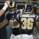 St. Louis Rams tight end Lance Kendricks, left, is congratulated by Benjamin Cunningham after scoring during in the second quarter of an NFL preseason football game against the Green Bay Packers Saturday, Aug. 16, 2014, in St. Louis The Associated Press