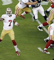 San Francisco 49ers quarterback Colin Kaepernick (7) throws a pass in the first half against the San Diego Chargers in an NFL preseason football game, Thursday, Aug. 29, 2013, in San Diego. (AP Photo/Gregory Bull)