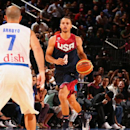 NEW YORK, NY - AUGUST 22: Stephen Curry #4 of the USA Basketball Men's National Team dribbles the ball during a game against the Puerto Rico Basketball Men's National Team on August 22, 2014 at Madison Square Garden in New York, New York. (Photo by Nathaniel S. Butler/NBAE via Getty Images)