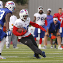 FILe - In this July 20, 2014, file photo, Buffalo Bills running back C.J. Spiller (28) runs past safety Aaron Williams (23) during NFL football training camp in Pittsford, N.Y. Spiller is aware of what the critics wrote about him last year. The worst was
